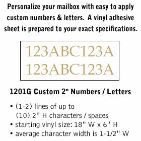 Custom Numbers / Letters Horizontal Gold Vinyl 2 Inches High