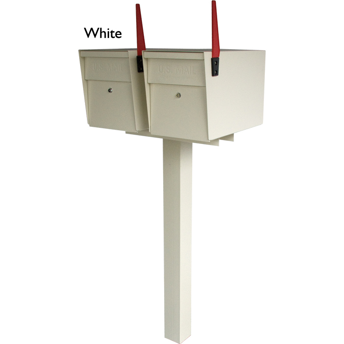 2 Mail Boss with in ground Post White
