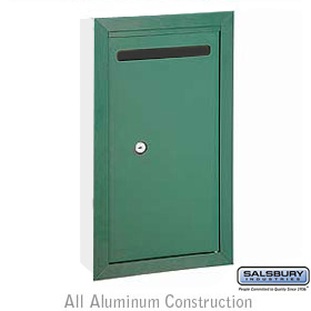 Letter Box Slim Recessed Mounted Green Private Access With (2) K