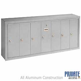 7 Door Vertical Mailbox Aluminum Finish Surface Mounted Private