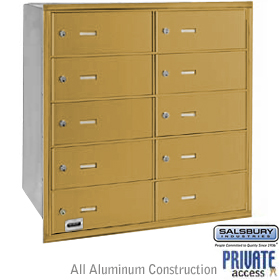 10 Door 4B+ Horizontal Mailbox Gold Rear Loading B Doors Private