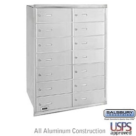 14 Door 4B+ Horizontal Mailbox Aluminum Rear Loading B Doors Usp