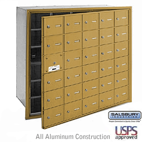 30 Door (29 Usable) 4B+ Horizontal Mailbox Gold Front Loading A